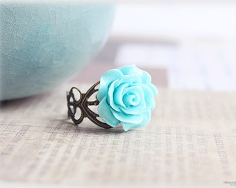 Aqua blue rose ring, lucite flower cabochon on vintage style filigree adjustable brass ring, victorian inspired jewelry