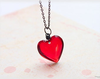 Red heart necklace - big glass pendant simple valentines day jewelry gifts for her under 20 - My Love