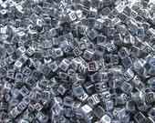 Antique Silver Alphabet Beads-letter E- set of 50