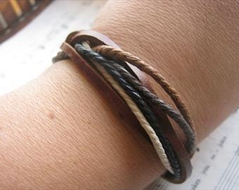 Natural Bracelet- Leather-Style Adjustable- Brown, Cream, Black, Tan