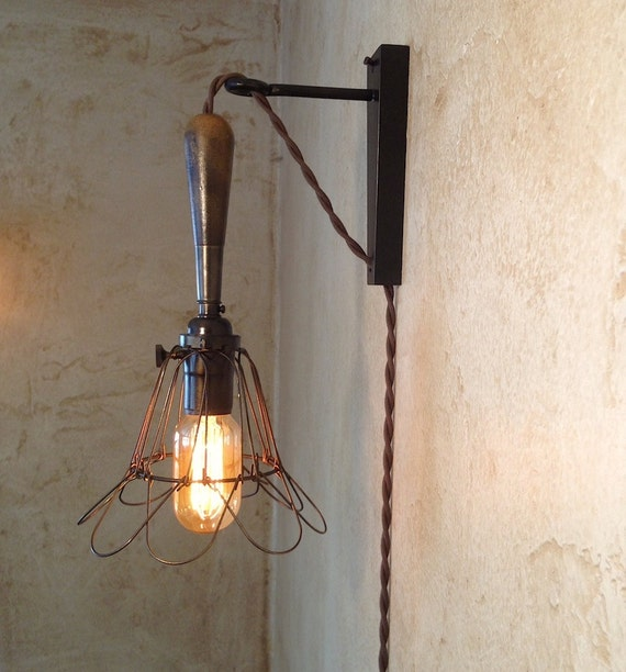 Trouble Lamp Sconce. Plug in. Vintage by IroncladIndustrial
