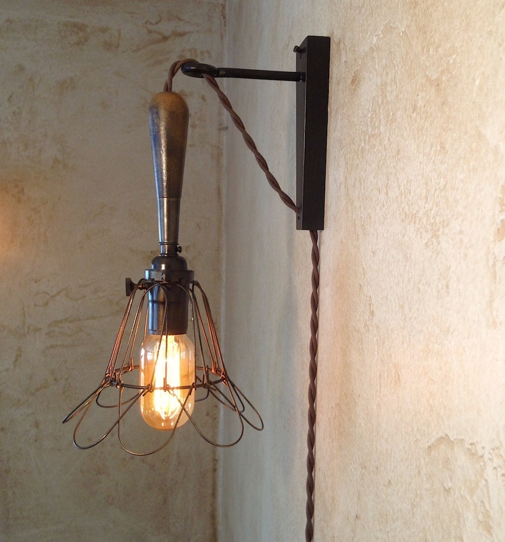 Indoor Hanging Lamps Plug Into Wall : Trouble Lamp Sconce. Plug in. Vintage by IroncladIndustrial