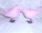 Shabby chic painted pink glittered BIRDS Spring DECOR
