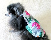 Sundress for Dogs Pomeranian Small Dog, Made to Order Pet Clothes - Cotton with White, Teal, Hot Pink and Gold Hawaiian Print/Eyelet Trim