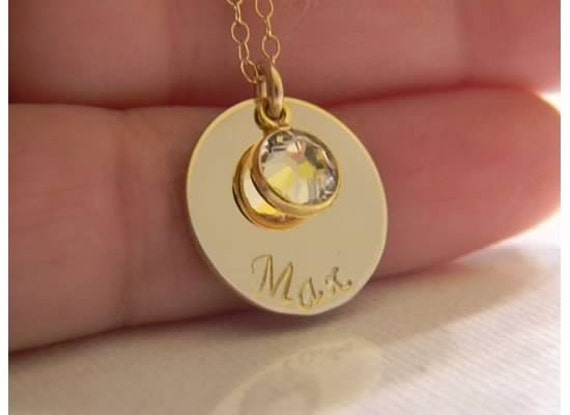 14kt Gold Filled Custom Made Hand Stamped Personalized Monogram Name, ID Necklace with Birthstone Charm (5/8 inch )