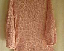 Light Sweater Blouse Simple Breathed Cotton with Bamboo Light Pink Colour Handknitted