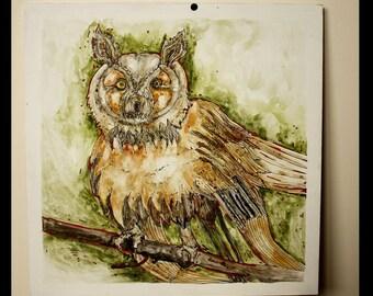 Owl.Original Mixed Media. 32cm X 32cm (12.6'' X 12.6'')