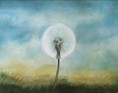 Dreamy Dandelion, Watercolor, Original Watercolor Painting, Fine Art, White Flower Painting Wild Flower, 10 x 14 inch, European Art, Artdora