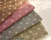 Japanese Cotton Linen Fabric Bundle Polka Dots Fabric Bundle Fat Quarter Bundle Fabric Dots Bundle Fabric- Sets for 4 each 50cmx70cm
