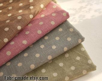 Japanese Cotton Linen Fabric Bundle Polka Dots Fabric Bundle Fat Quarter Bundle Fabric Dots Bundle Fabric- Sets for 4 each 50cmx70cm
