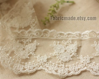 """Off White Lace Trim, Cotton Lace Trim, Wedding Lace, French Embroidered Lace, Bridal Lace - 4""""Width Lace By Yard One Yard"""