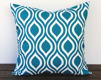 Teal pillow cover One Nicole Aquarius Teal cushion cover modern pillows