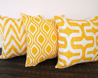 Yellow pillow covers set of three Corn Yellow cushion cover modern mustard pillows