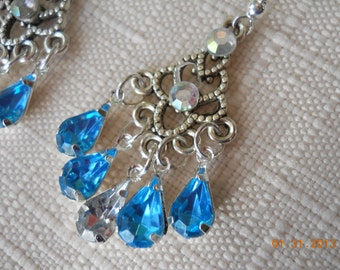 Silver Chandelier Earrings with Clear and Blue Rhinestone Dangles