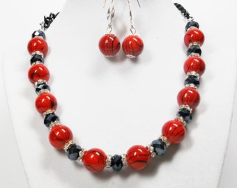 Round Orange Glass Bead with Black Stripe Necklace & Earrings Set