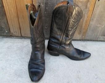 Vintage Cowboy Boots  Black Western Rockabilly