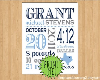 8x10 Printable Custom Birth Print, Printable PDF and JPG File