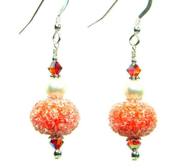 Orange Earrings, Pumpkin Earrings, Halloween Earrings, Fall Autumn Lampwork Earrings, Sugar Glass Pumpkin Earrings, Pearl Earrings