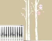 Children Vinyl decal Birch Tree decal with cute Owl LG set, Birch trees, Birch forest, Nursery Birch Trees Wall Vinyl