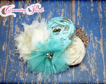 Aqua, Ivory, Brown Headband, Hair Accessory, Baby Girl Hair Bow, Turquoise Flower Hair Bow, Fabric Flower Clip, Fabric Flowers, Hair Piece