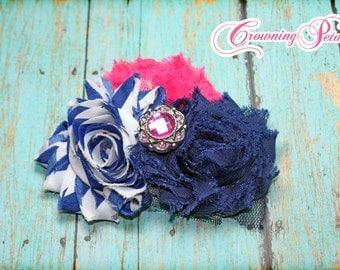 Baby Headband, Hair Accessories, Fuchsia Pink, Royal Blue Shabby Chiffon Flowers, Blue Fabric Flower Hair Bow, Baby Hair Bows, Hair Clip