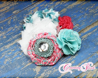 Coral Pink, Turquoise, White Flower Headband, Teal Hair Accessories, Aqua Fabric Flowers, Baby Girl Hair Bow, Hair Piece