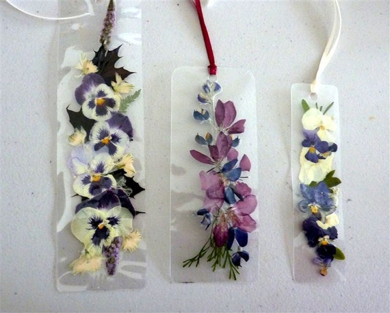 Laminated flower bookmarks with pansies and apple by