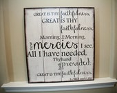 "Scripture Art, Wooden Sign ""Great is Thy faithfulness"" 24x24 Choose your colors."