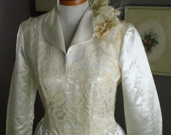 40s Satin and Lace Wedding Dress War Bride Bridal Gown