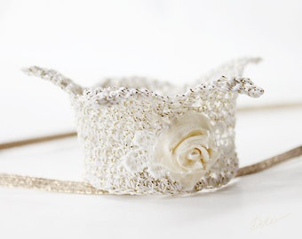 Baby girl ivory Crown. Newborn baby crown decorated with tiny rose