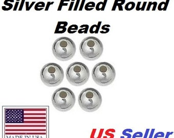 3 MM 100 Pcs  Silver Filled Round Beads Seamless B2103SF