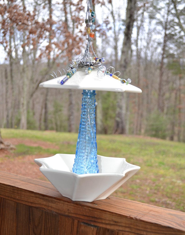 Upcycled bird feeder shabby chic blue white glass ceramic for Upcycled bird feeder