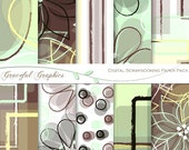 Scrapbook Paper Pack Digital Scrapbooking Background Papers10 Sheets 8.5 x 11 Abstract Flowers Brown Green Yellow  2026gg
