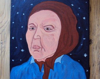 The Old Maid, Original Folk Art Painting - Wise Woman and Blue Midnight Sky - Mystic Wall Art - Whimsical 8 x 10 Acrylic Portrait - Folklore
