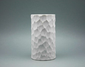 Op Art cylindrical bisque porcelain vase Thomas (Bavaria)