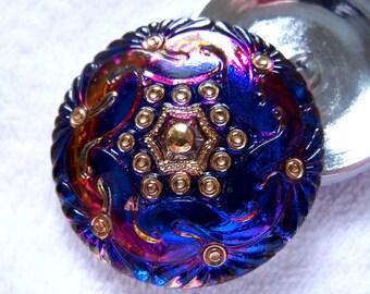 Czech  Glass  Buttons  2pcs   Gorgeous XL   41 mm       IVA 014