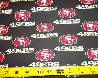 SAN FRANCISCO 49ERS   - Nfl Football  Fabric 1/2  Yard   Piece  Black 100% Cotton