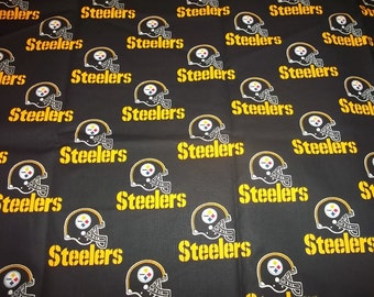 PITTSBURGH  STEELERS  - Nfl Football  Fabric 1/2 Yard   Piece BLACK 100% Cotton