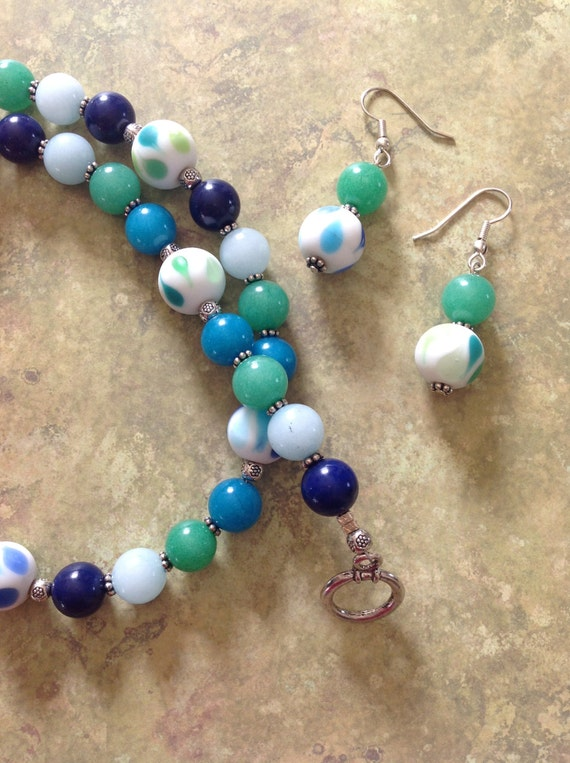 shades of blue and green beaded necklace gemstone necklace and
