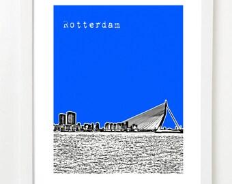 Rotterdam Art Print - Rotterdam City Skyline Poster - Rotterdam Netherlands Poster
