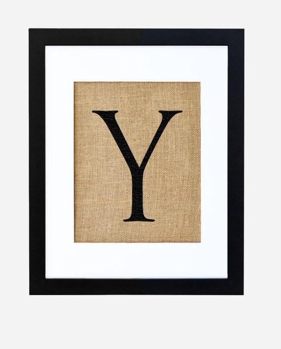 letter y framed burlap art typography alphabet by fiberandwater
