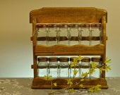 Vintage Wooden Spice Rack and 12 Glass Jars for Spices - Hang on Wall or Sit on Counter