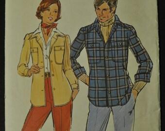 Misses' Shirt Jacket Size 16 Uncut Vintage 1970s Sewing Pattern Butterick 3781