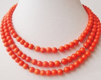 Orange Turquoise Necklace, Triple Strand Statement Necklace, Orange Necklace, Orange Stone Necklace