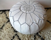 Moroccan LEATHER POUF :hand stitched / embroidered W G
