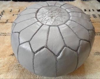 Couple of 2 LEATHER POUFS :hand stitched / embroidered G