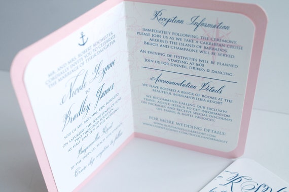 Preppy and elegant passport wedding invitation with custom map for