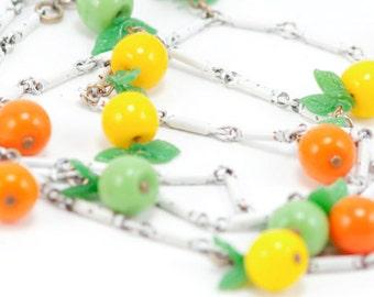 Vintage Necklace Fruit Enameled Glass Oranges Lemons Limes Leaves Summer