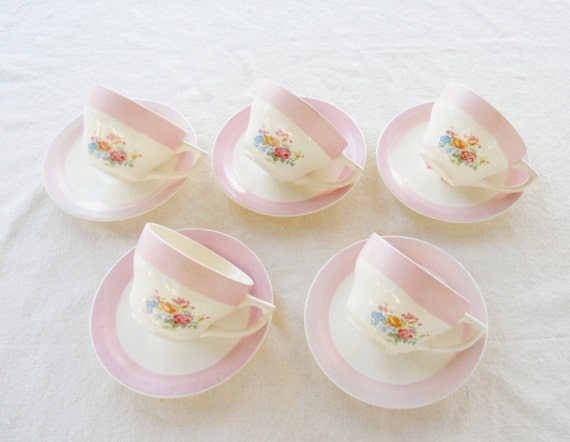 Vintage Pink Banded Floral Teacups and Saucers, Set of 5