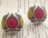 Free Shipping: Large Pink Gray Green and White Earrings